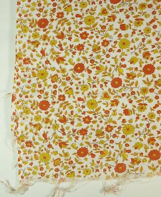 Vintage YELLOW & ORANGE Flowers & Leaves on WHITE Background Opened Feed Sack