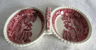Pink Spode Tower 2 Part Relish Dish Hard To Find
