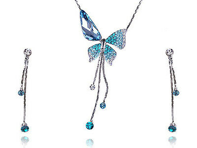 Delicate Sapphire Blue Butterfly Dangle Crystal Rhinestone Necklace Earring Sets