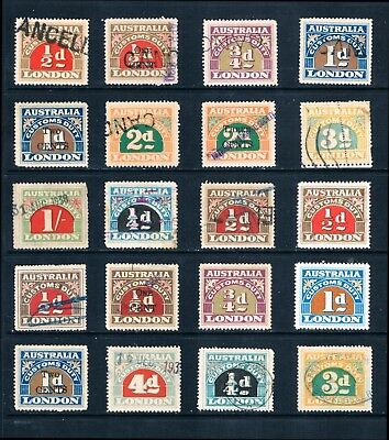 Australia a Nice collection of Used London Customs Duty Stamps