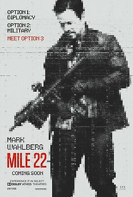 """MILE 22 2018 Original DS 2 Sided 27x40"""" Movie Poster Mark Wahlberg Loren Cohan"""