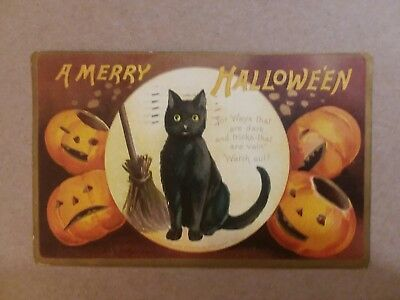 1908 Halloween postcard Black cat & jackolanterns