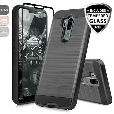 For LG G7 ThinQ Brushed Armor Rubber Hard Phone Case Cover+Black Tempered Glass