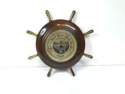 Vintage Ships Wheel Wood & brass Lorister Barometer. Wall mount or self stand