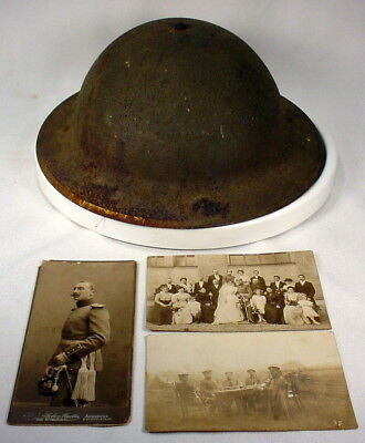 Antique WWI M1917 US Army Brodie Doughboy Steel Helmet with Liner Chin Strap