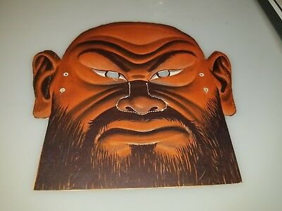 "VINTAGE 1950s 60s CARDBOARD HORROR MONSTER SCARY PIRATE MASK 8"" X 8"" CLEAN RARE!"