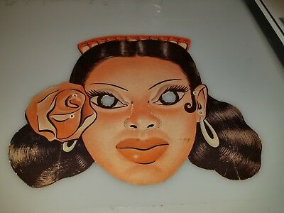 "VINTAGE 1950s 60s CARDBOARD HORROR MONSTER LATIN LADY MASK 8"" X 10"" CLEAN RARE!"