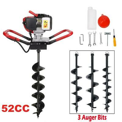 """Gas Powered 56cc Fence Ground Drill Post Hole Digger Machine+ 4'' 6'' 8"""" Auger"""