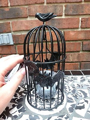 Halloween Black Metal Bat Crow Raven Bird Cage Swinging Votive Tealight Holder