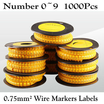 1000x PVC Yellow Cable Wire Markers Labels Tag Management Number 0~9 0.75mm²