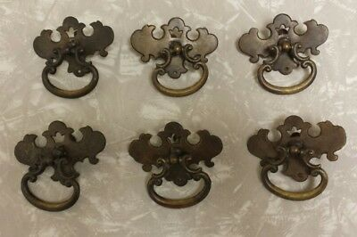 6 Antique Vintage Brass Drawer Pulls Dresser Handles LOT Stamped 4497