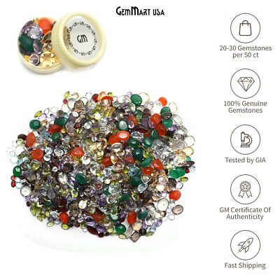 50+ Cts Mixed Gems Loose Mix Gemstone Lot, Faceted Wholesale Parcel Lot