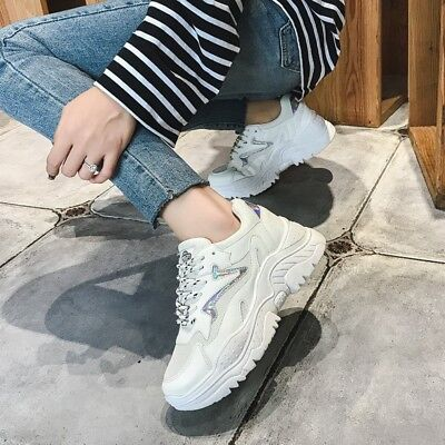 71dcbde24b3 Womens Fashion Wedge Hidden Heel Platform Sneakers Casual Lace Up Shoes  Athletic