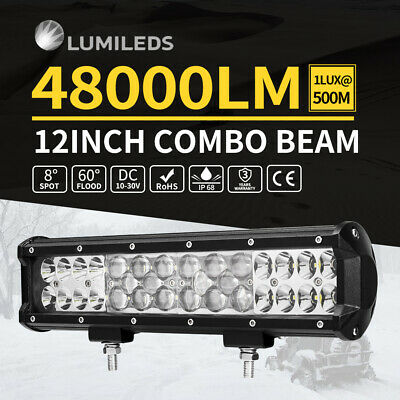 """12inch Philips LED Light Bar Tri Row Spot Flood Offroad Driving Truck 4x4WD 15"""""""