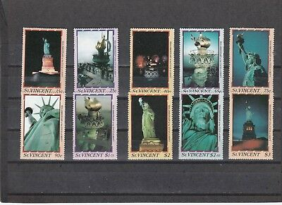 St Vincent - Sg1034-1043 Mnh 1986 Centenary Statue Of Liberty