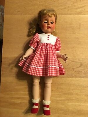 Vintage Madame Alexander Madeline Jointed Doll- Redressed In Red/white Checks