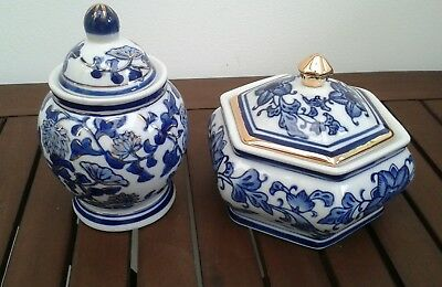 2 X Beautiful Blue White & Gold Ginger Jars In Excellent Vintage Condition