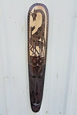 "Gorgeous Intricate 40"" Handcarved ""giraffe Family"" Wood Wall Decor Mask!!"