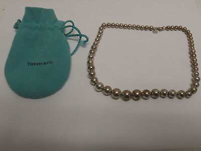 Tiffany & Co. Sterling Silver 925 Graduated Ball Bead Necklace - 16 Inches