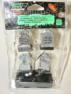 "Lemax Halloween Spooky Town - Illuminated Tombstones Set 4 ""lights"" New In Pckg"