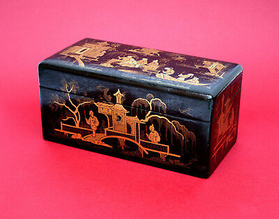 FINE ANTIQUE LACQUER TEA CADDY FRENCH IN CHINESE STYLE GILDED DECORATION 1800's
