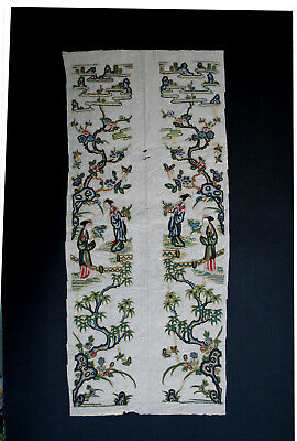 Pair Antique Chinese Silk  Robe Sleeve Panels Embroidery Textile