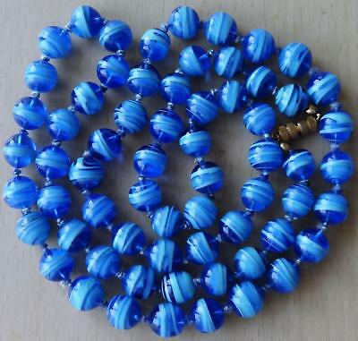 Vintage Blue Marbled Swirl VENETIAN Glass Bead Necklace