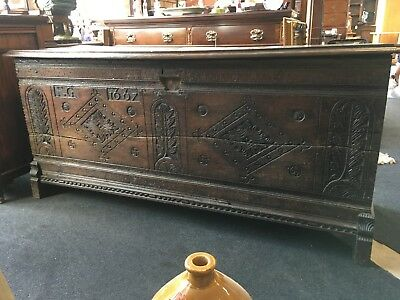 Antique Wooden Large Carved Oak 17th Century Coffer/ Box c.1667