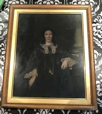 Antique 19th Century Oil Portrait Painting Of A Lady Painted On Glass