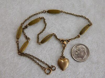 "Vintage Art Deco Era Gold Filled & Brass Heart Pendant Dainty 14"" Necklace"