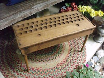 Small Primitive Antique Folding Table With Sorting Holes Farm Auction Find