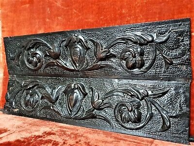 Pair scroll leaves pediment Antique french wooden carving applique panel trim