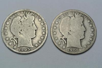 1905-S & 1906-S Silver Barber Half Dollars, Good Condition - C6053