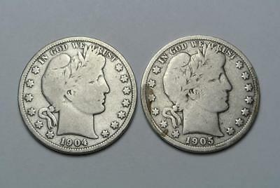 1904 & 1905-S Barber Half Dollars, Good Condition - C6146