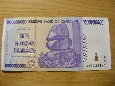 A 2008 Zimbabwe 10 Billion Dollars Banknote - Used but still crisp