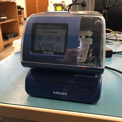 Amano Time Clock PIX-200 Electronic Time Recorder & Date Stamp 8868BA