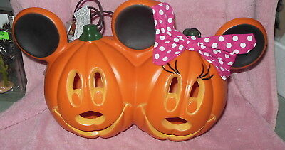 Disney Light Up Mickey Minnie Mouse Molded Plastic Pumpkin Jack-O-Lantern Nwt