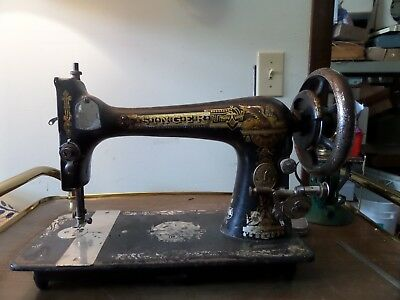 Antique 1893 Singer Treadle Sewing Machine Model 27 Egyptian Sphinx #11898137