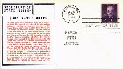 Dr Jim Stamps Us John Foster Dulles Secretary Of State Fdc Cover 1960