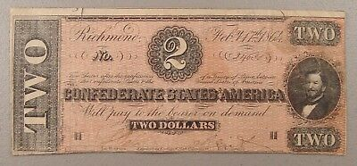 1864 T-70 Confederate $2 Note