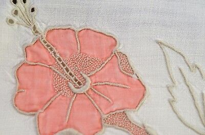 Pink Hibiscus - Vintage Madeira Marghab Linen Square Tablecloth Tt772