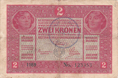 2 Korona/kronen Vg-F Note1919 With An Unidentified Stamp From Shs Kingdom!