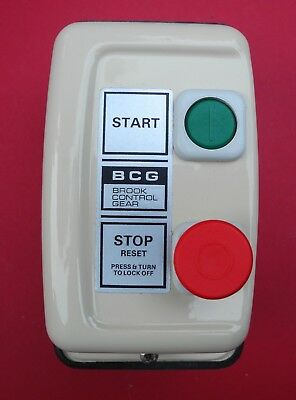 Vintage Brooke Control Gear - Motor Stop Starter Cream Steel Enclosure