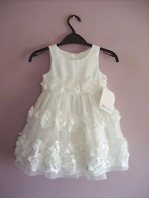 Baby Girl 18 month Bonnie Baby White Sleeveless Petal Party Dress + Pants NEW
