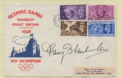 1948 OLYMPIC GAMES ILLUSTRATED FDC*OLYMPIC RINGS Pmk *SIGNED FANNY BLANKERS-KOEN