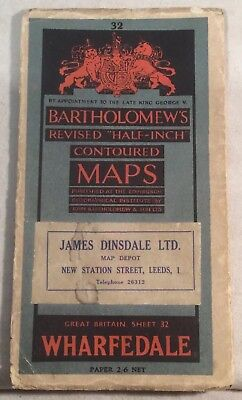 """Vintage """"Wharfedale"""" Sheet 32 Revised """"Half Inch"""" Map By Bartholomew's c.1945"""
