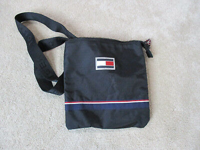 VINTAGE Tommy Hilfiger Purse Hand Bag Clutch Black Blue Flag Logo Shoulder  90s f426ceab7db19