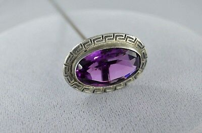 Antique STERLING SILVER SETTING Amethyst COLOSSAL Hatpin (signed RR)