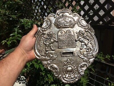Antique Silverplate Torah Breastplate NR 12x10 Lions commandments Crown