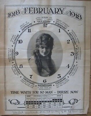 1918 Original WW1 Poster- WAR RISK INSURANCE - Time Waits for No Man- Insure Now